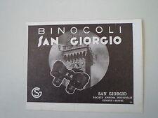 advertising Pubblicità 1937 BINOCOLI SAN GIORGIO - GENOVA SESTRI