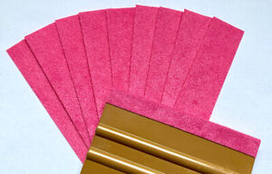 Genuine Monkey Strips Felt Buffers for Squeegees  Car Wrapping Pack Of 10 PINK