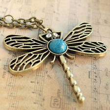 Women Retro Vintage Round Dragonfly Wooden Long Chain Pendant Necklace Hot