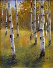 Fall Quaking Aspen oil painting, 11x14 inches, Idaho artist Warren Gossett