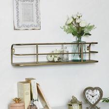Brushed gold metal wall shelf display storage shelving industrial kitchen decor