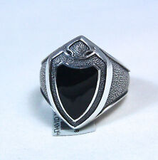 David Yurman Men's Armory Shield Black Onyx Silver Signet Ring Size 10 $550 NWT