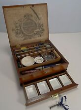 Antique English Rudolph Ackermann Mahogany and Brass Artist's Box c.1890