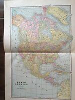 Antique COLOR MAP of North America-circa 1893