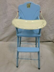 "Vintage 1950's AMSCO ""DOLL-E-HICHAIR"" BLUE METAL TOY DOLL CHAIR"