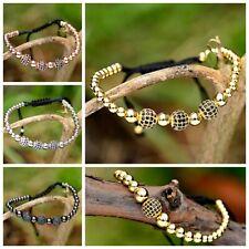 Charm Gold Plated Micro Pave White Black CZ Bead Braiding Men Women Bracelets