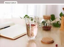 450ml Double Layer Wall Clear Glass Tea Cup + Bamboo Lid Set Glass Coffee GA