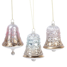"""Set of 3 Large Glittered GLASS BELL Christmas Ornaments, 4.5"""", by Ganz"""