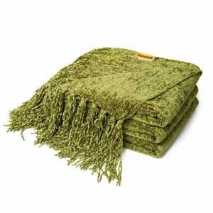 DOZZZ Fluffy Chenille Throw Blanket Decorative Fringe for Bed Sofa New Year Gift
