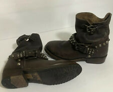 Brown Leather ASH STUDDED BIKER BOOTS Strap MOTORCYCLE BOOTS Sz EU 36 US 6