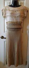 2 Piece Tan & Ivory Oscar de la Renta Silk Knit Sweater Dress