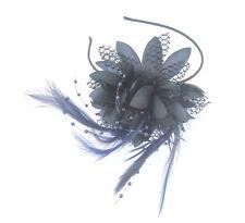 Marine Dentelle Fleur Plume & Beadin fascinateur bandeau pour mariages, Courses,