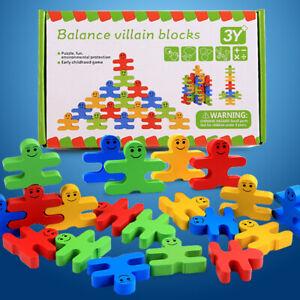 16PCS Wooden Villain Toys Blocks Kids Balance Game Early Educational Brick Toy