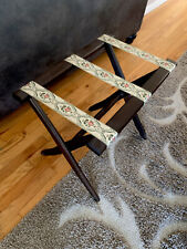 VTG Wood Folding Luggage Suitcase Rack Valet Stand Floral Tapestry Strap MINT