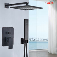 """Oil Rubbed Bronze 12""""Shower Faucet With Mixer Valve Wall Mounted Handheld Shower"""