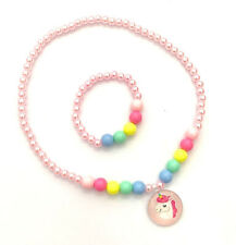 Girls Plastic Necklace and Bracelet Set Unicorn Design Kids Jewellery Party Bag