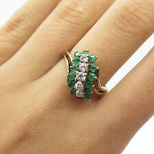 925 Sterling Silver Real Emerald White Topaz Gemstone Ring Size 6.5