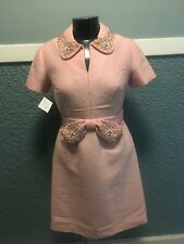 Vintage 50s Pink Silk Shantung Ornate Beaded Collar & Waist Dress
