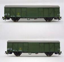 Roco 76096 H0 Set Ged.Güterwagen Gbs252/254 grün Post Ep.IV 2teilig NEU/OVP