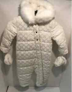 Baby Girl Snowsuit All In One River Island fur hood 6/9 9/12 m