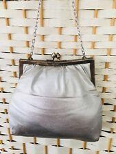 Vintage Made In Hong Kong Silver Fabric Metal Frame Evening Or Make Up Bag