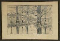 Bleistift Zeichnung Studie Skizze Laubbäume am Ufer 24 x 35 cm Natur