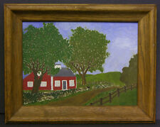 Mid 20th Century Folk Art Painting of Red Farm House & Country Road, New York