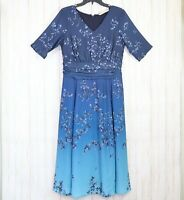 Eshakti Wayward Fantasies Blue Green Floral Dress Size M 10 Womens Lined