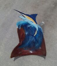 Marlin hand carved painted Florida wooden palm tree frond art painting