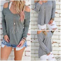 Women Long Sleeve Loose Strapless Casual Cold Off Shoulder T Shirt Blouse Tops