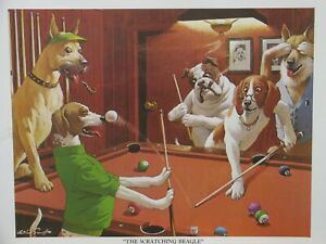 """Best Buds: Dogs Playing Pool 'The Scratching Beagle"""" 16x20 Poster"""