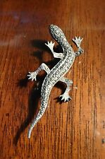 sterling silver marcasite lizard pin, salamander,broach