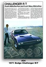 1971 Dodge Challenger Ad Brochure 24x36 Poster Mancave Art R/T 383 440 426 HEMI