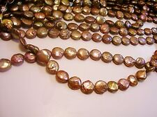 5021 HELLO 10 MM STUNNING COPPER FRESHWATER COIN PEARL LOOSE BEAD JEWELRY STRAND