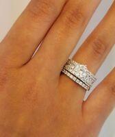 3 CT Round Cut Diamond Engagement Bridal Ring Set Wedding Band 14K White Gold