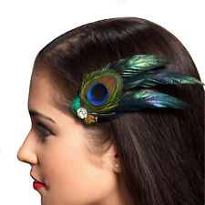 Peacock Feather Rhinestones Bridal Wedding Hair Clip Head Pin Hairpin gifT HY