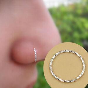 925 Sterling Silver Nose Lip Ear Ring Hoop Rings Body Piercing Earring 6 -10 MM