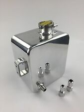 Universal 2.5L Polished Aluminum Radiator Overflow Reservoir Water Tank with Cap