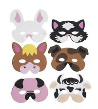 6x Foam Farm Animal Masks Pinata Toy Loot/Party Bag Fillers Wedding/Kids UK
