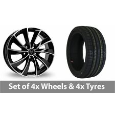 "4 x 18"" Wolfrace Lugano Black Polished Alloy Wheel Rims and Tyres -  225/40/18"