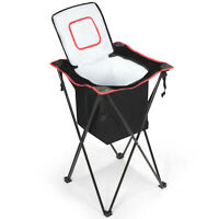 Outdoor Portable Tub Cooler Leakproof Picnic Travel w/Folding Stand& Bag Black