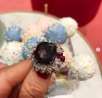 Beautiful 26.50ct Cushion Cut Ruby Art Deco Engagement Wedding Ring 925 Silver