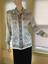 Escada Blouse Gray black English Setter map Sz 36 6 M 100% Silk RARE unique EUC