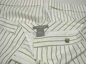 Ann Taylor women's golf Bermuda short pants cuffed knee white-brown stripe  6