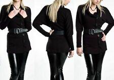 ♥Sexy Miss Damen Long Pulli Rolli Knöpfe Rollkragen Pullover Schwarz 34/36/38