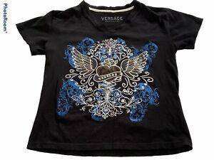 Versace Couture Jeanns Paisley Print Black T-Shirt Bright Blue Design Sz Medium