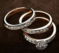 18K White / Rose Gold Filled Inlay SWAROVSKI Crystal Wedding Engagement Ring Set