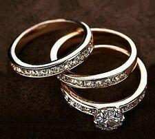 18K White / Rose Gold Filled Inlay SWAROVSKI Crystal Wedding Engagement Ring Set