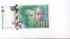 BILLET DE 500 FRANCS PIERRE ET MARIE CURIE 1994