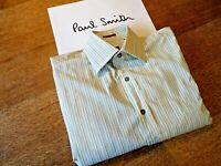 PAUL SMITH Shirt in 100% Cotton,Made in Italy,Long Sleeves,Blue Woven Stripe.